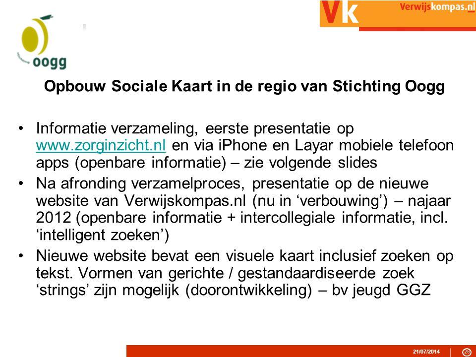 Opbouw Sociale Kaart in de regio van Stichting Oogg