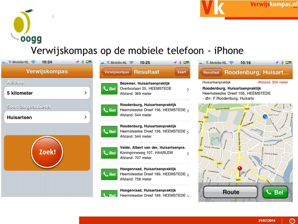 Verwijskompas op de mobiele telefoon - iPhone