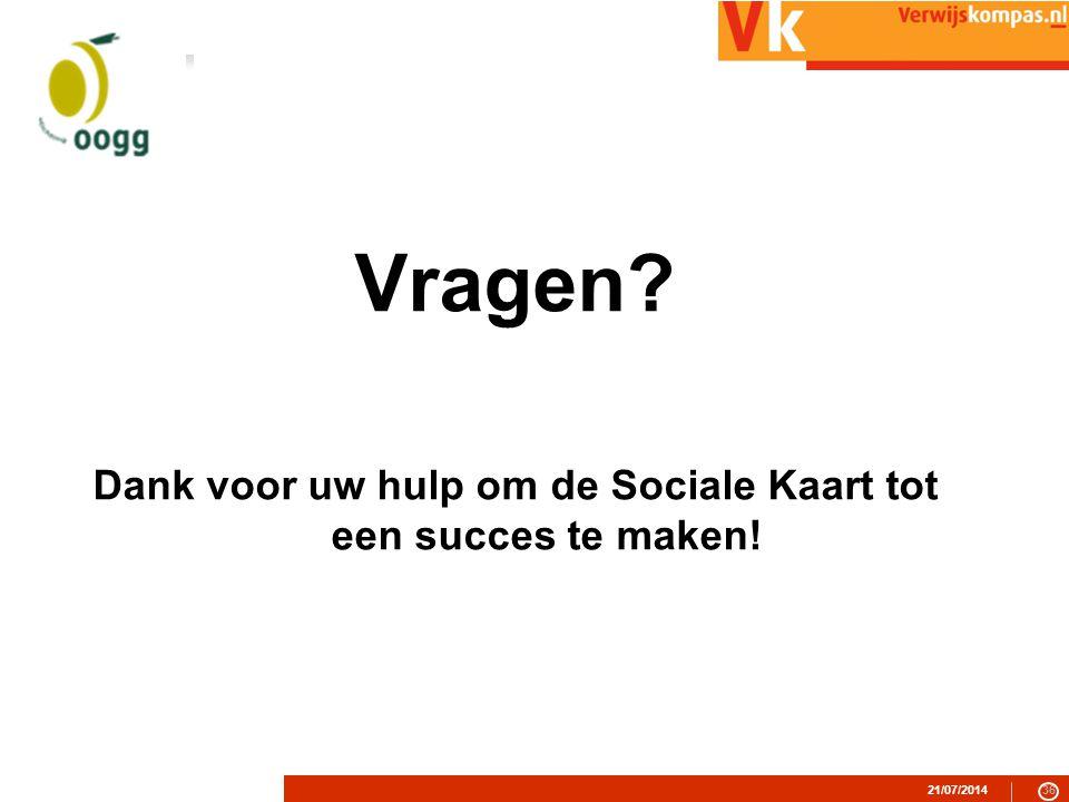 Dank voor uw hulp om de Sociale Kaart tot een succes te maken!