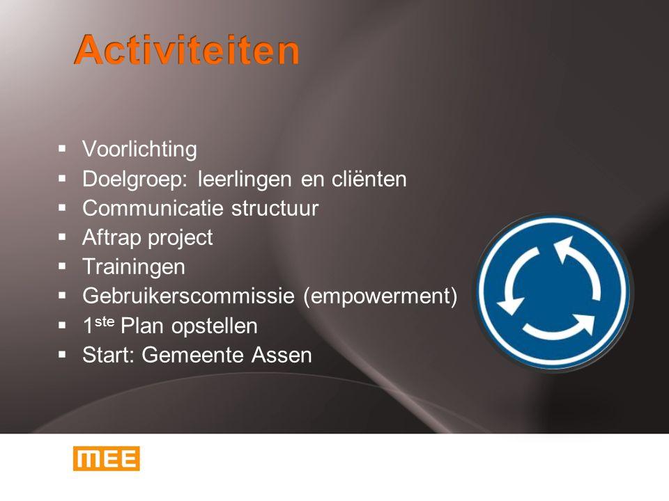 Activiteiten Voorlichting Doelgroep: leerlingen en cliënten
