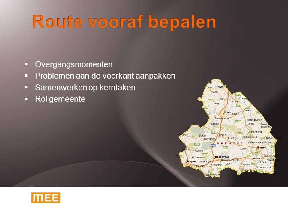 Route vooraf bepalen Overgangsmomenten