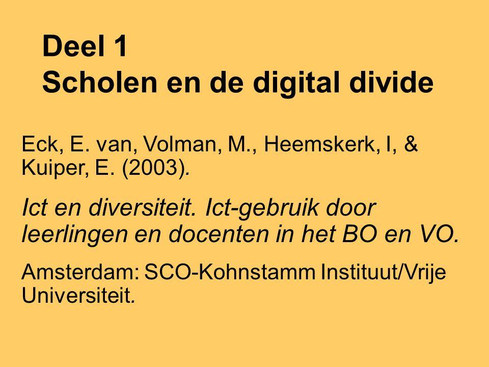 Deel 1 Scholen en de digital divide