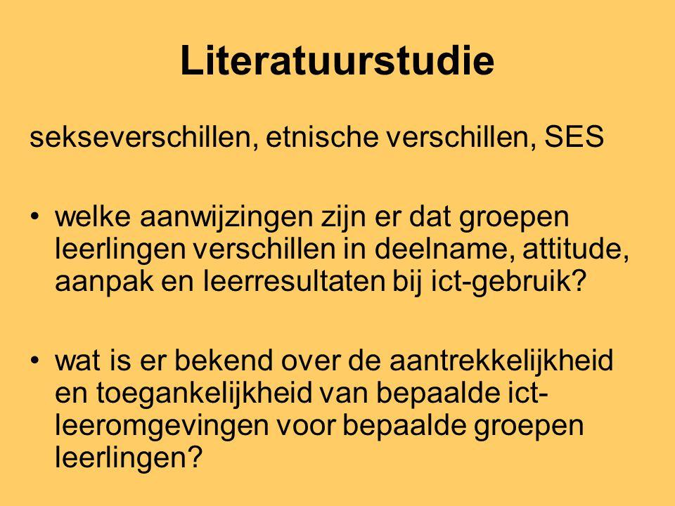 Literatuurstudie sekseverschillen, etnische verschillen, SES