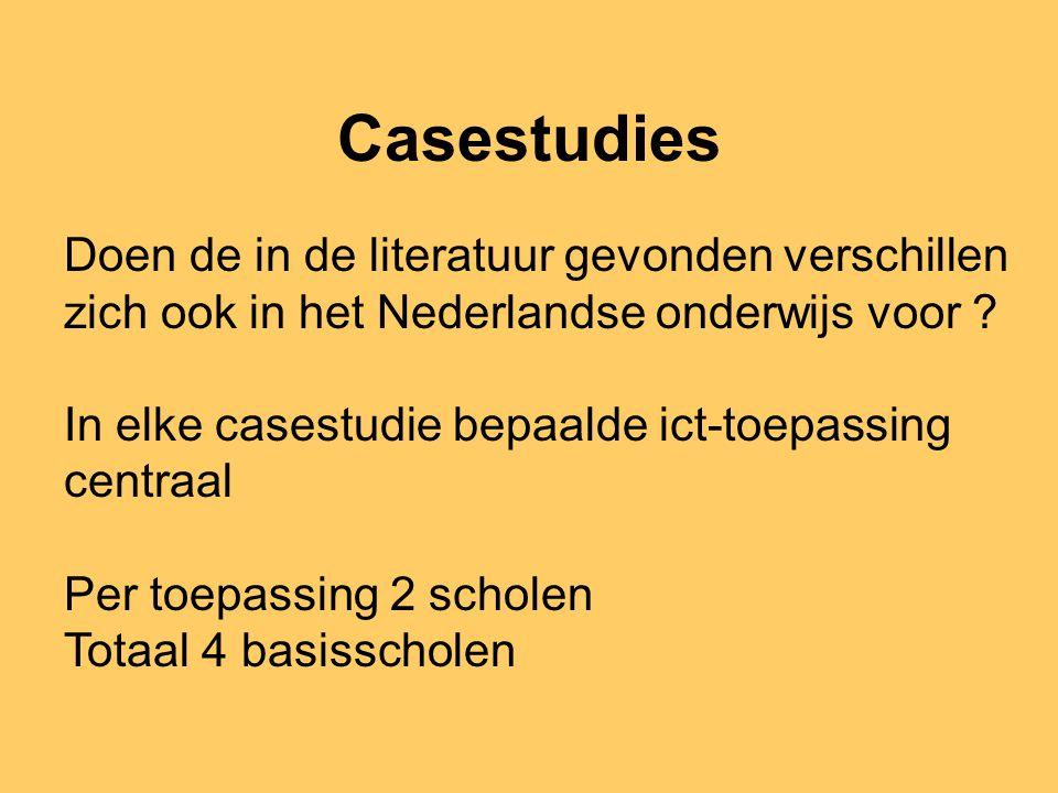 Casestudies Doen de in de literatuur gevonden verschillen zich ook in het Nederlandse onderwijs voor