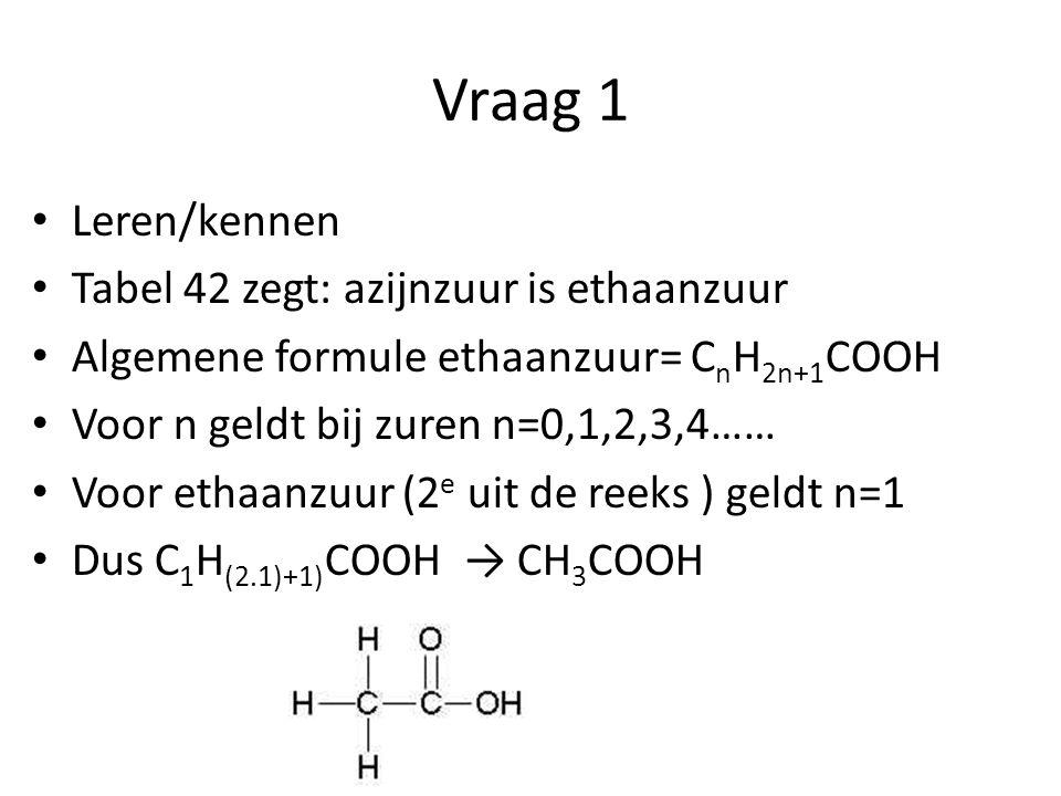 Vraag 1 Leren/kennen Tabel 42 zegt: azijnzuur is ethaanzuur
