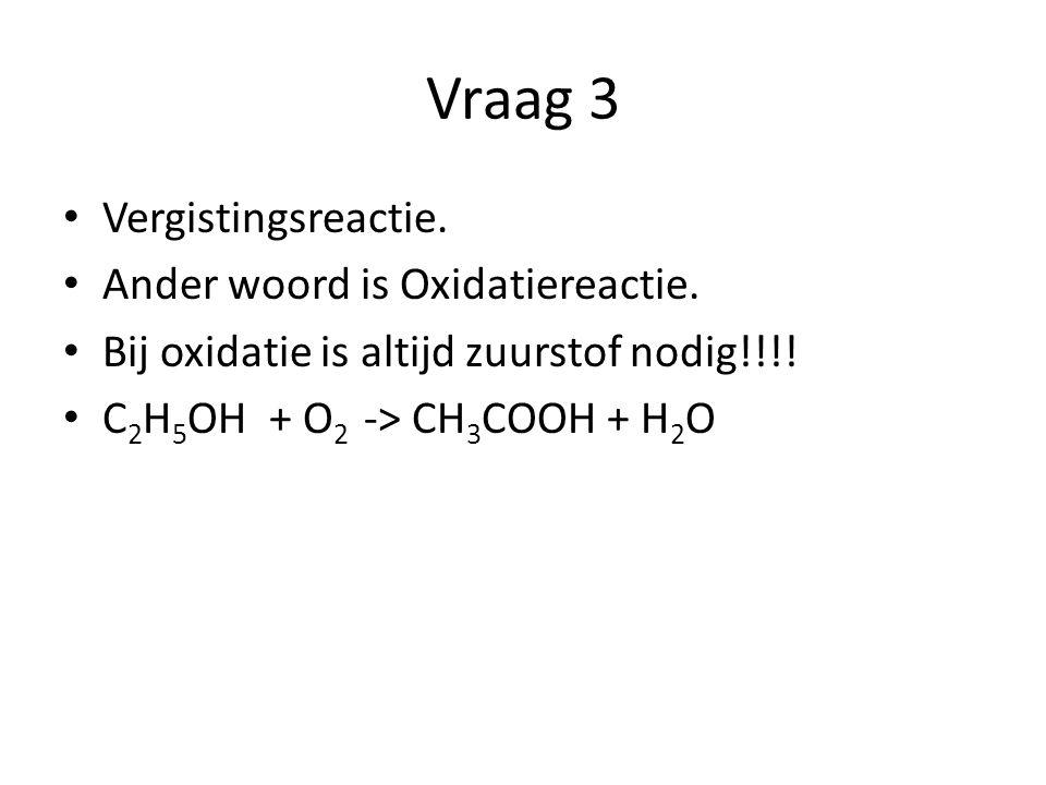 Vraag 3 Vergistingsreactie. Ander woord is Oxidatiereactie.