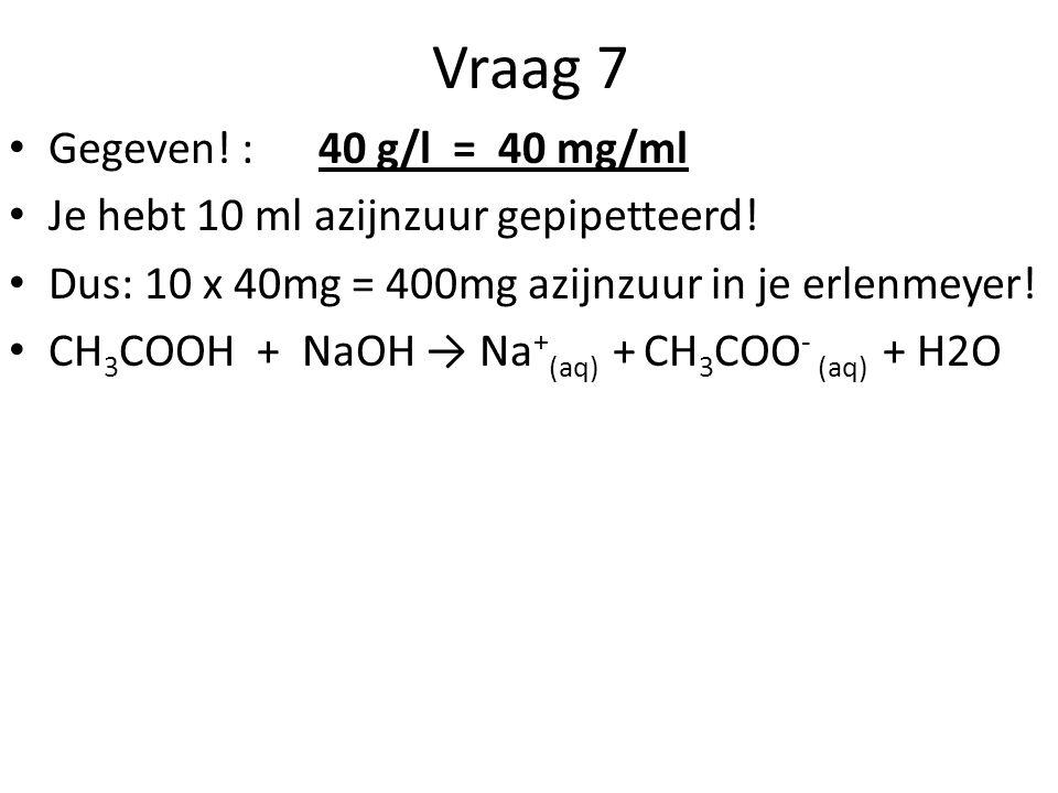 Vraag 7 Gegeven! : 40 g/l = 40 mg/ml