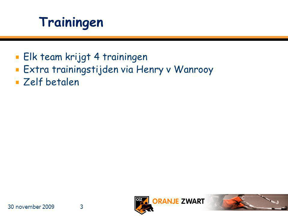 Trainingen Elk team krijgt 4 trainingen