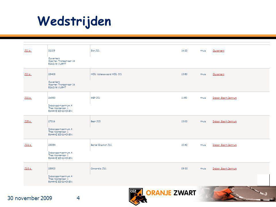 Wedstrijden 30 november 2009 JC1 z 32109 Son JC1 16:20 thuis Ouwerkerk