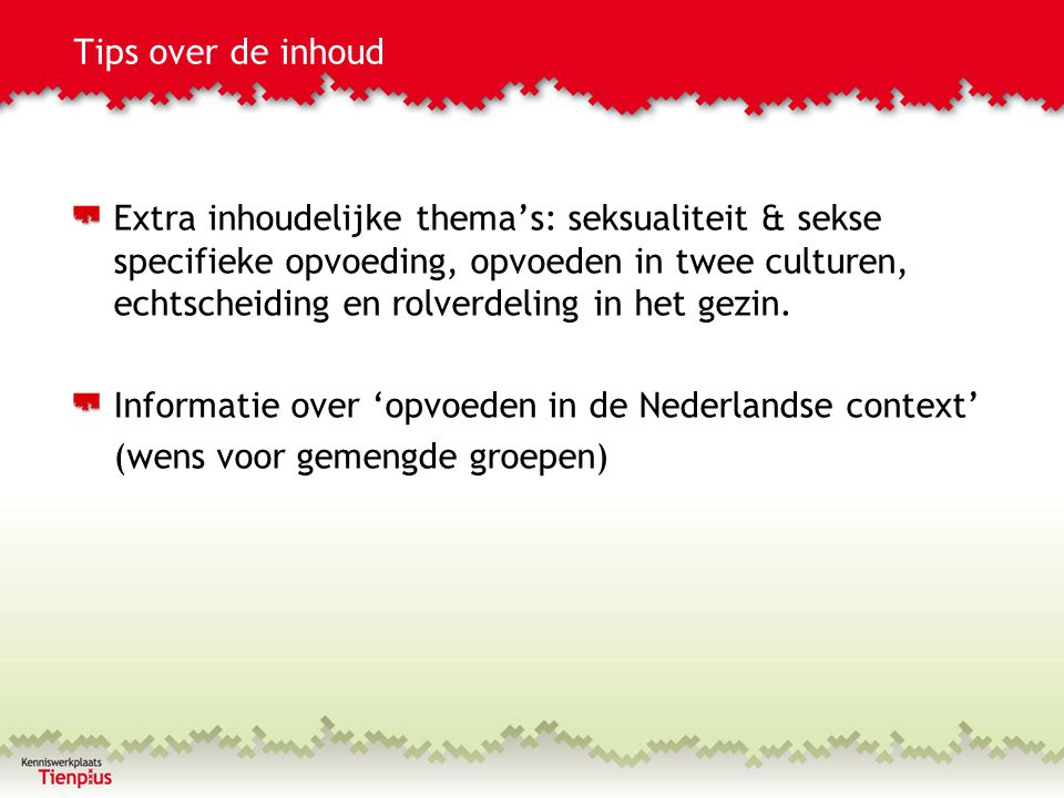 Tips over de inhoud