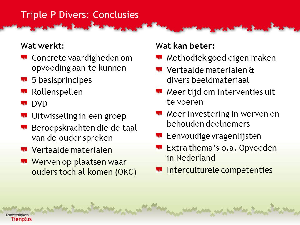 Triple P Divers: Conclusies