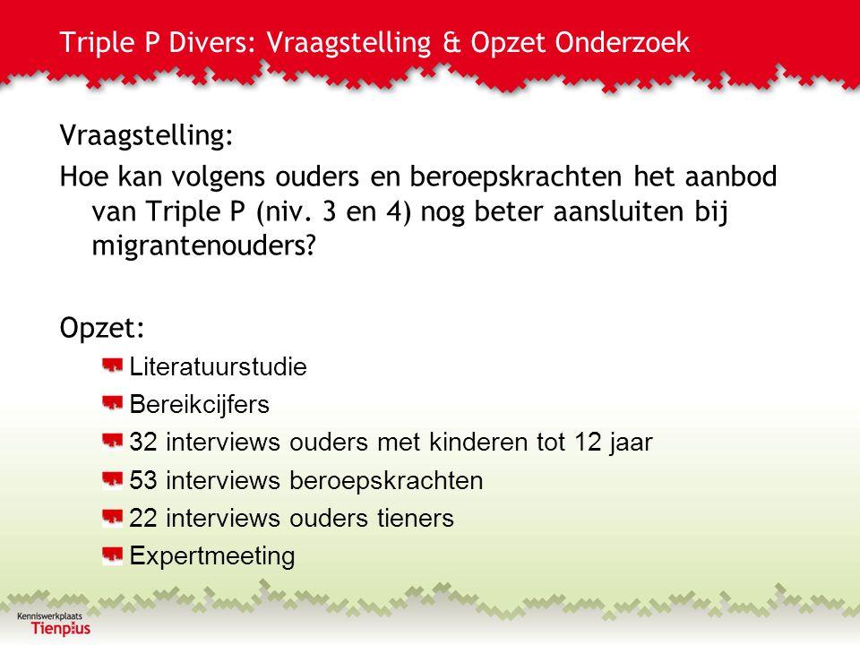 Triple P Divers: Vraagstelling & Opzet Onderzoek