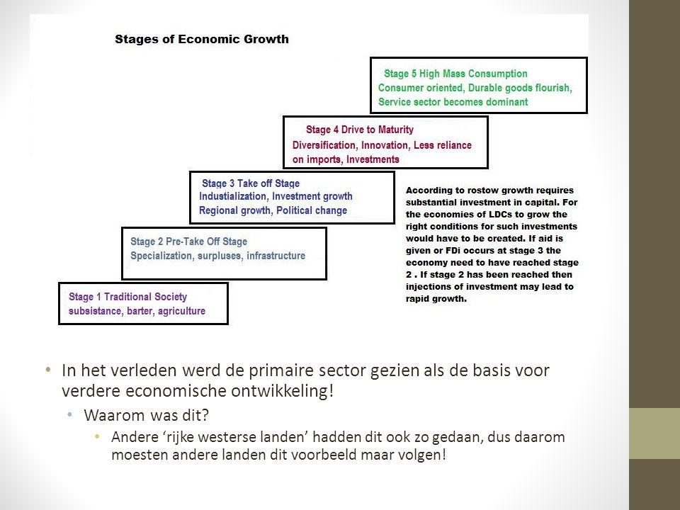 In het verleden werd de primaire sector gezien als de basis voor verdere economische ontwikkeling!