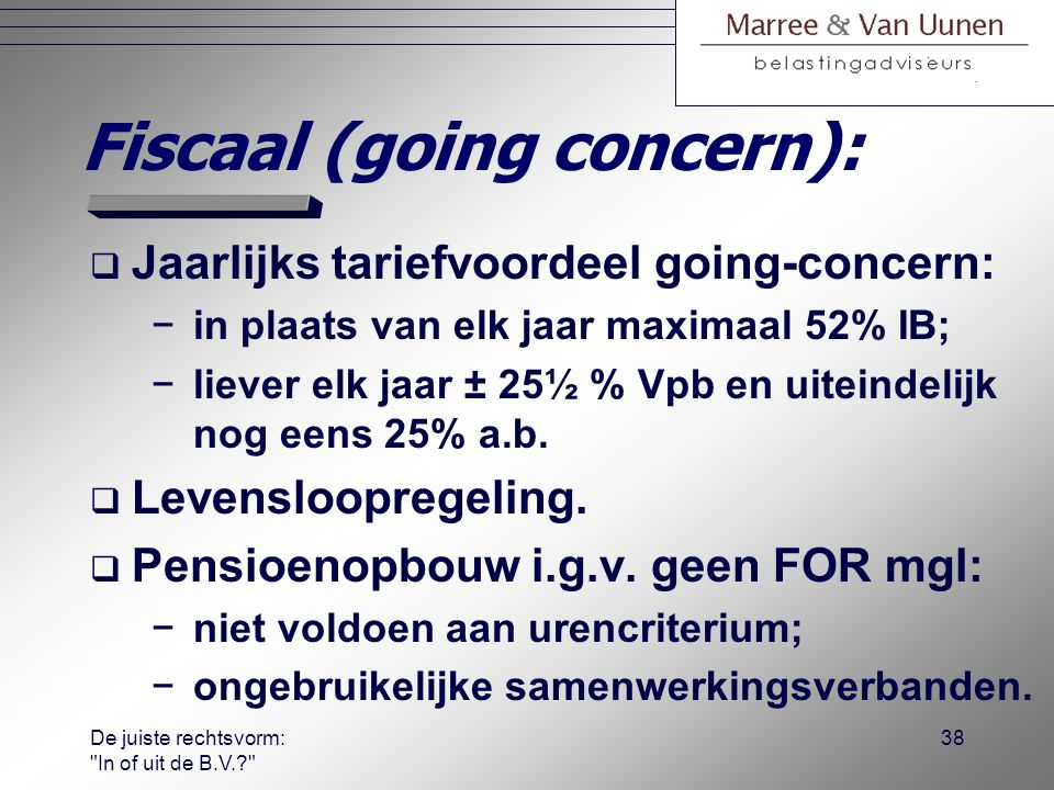 Fiscaal (going concern):
