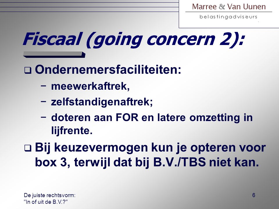 Fiscaal (going concern 2):