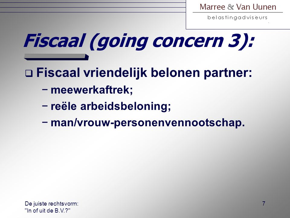 Fiscaal (going concern 3):
