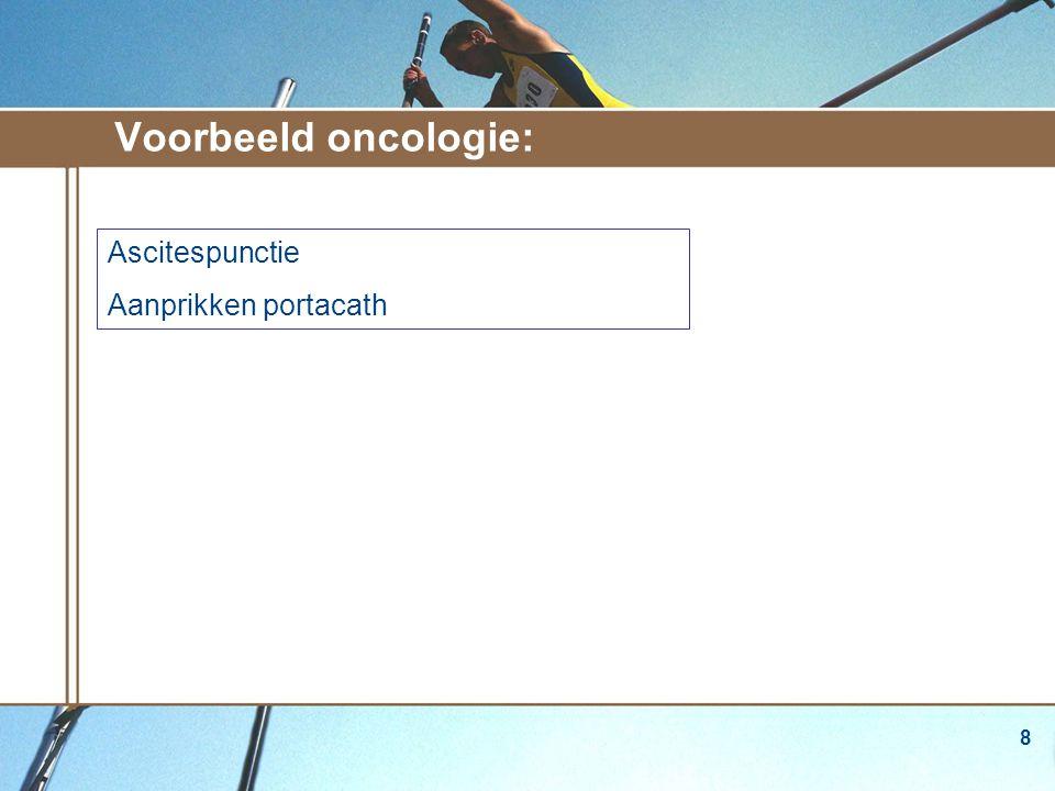 Voorbeeld oncologie: Ascitespunctie Aanprikken portacath