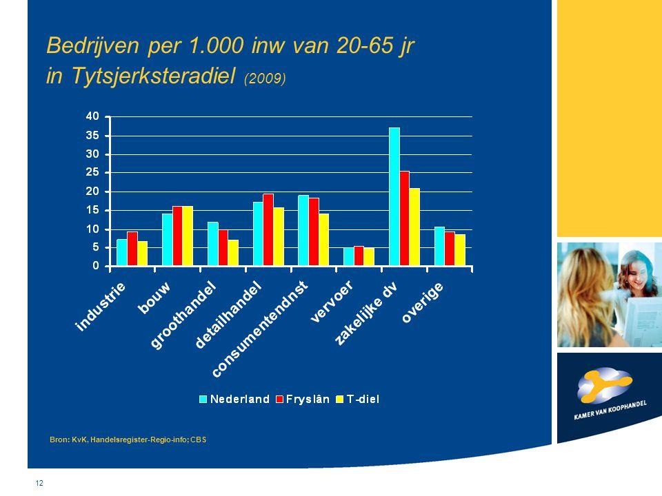 Bedrijven per 1.000 inw van 20-65 jr in Tytsjerksteradiel (2009)