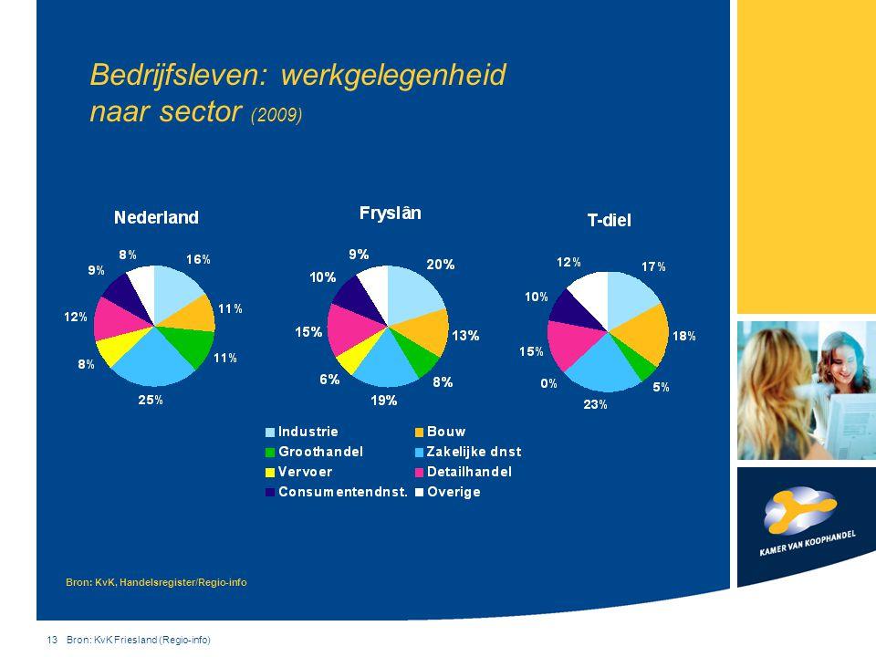 Bedrijfsleven: werkgelegenheid naar sector (2009)