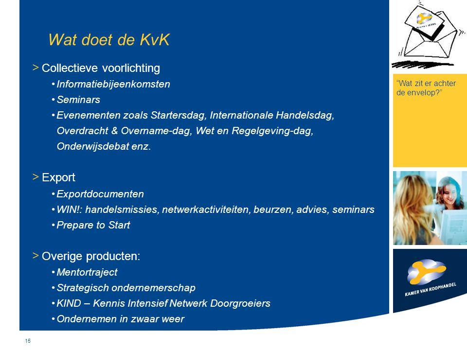 Wat doet de KvK Collectieve voorlichting Export Overige producten: