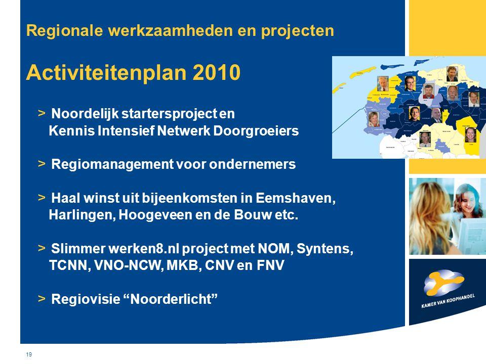 Regionale werkzaamheden en projecten Activiteitenplan 2010