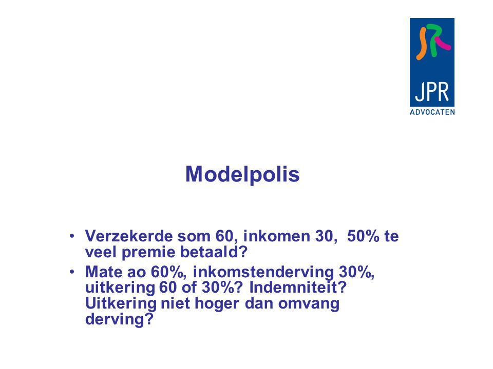 Modelpolis Verzekerde som 60, inkomen 30, 50% te veel premie betaald