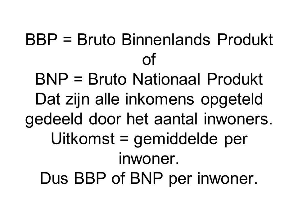 BBP = Bruto Binnenlands Produkt of BNP = Bruto Nationaal Produkt Dat zijn alle inkomens opgeteld gedeeld door het aantal inwoners.