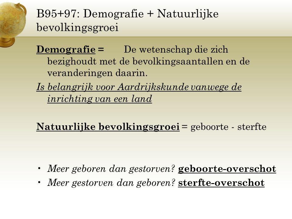 B95+97: Demografie + Natuurlijke bevolkingsgroei