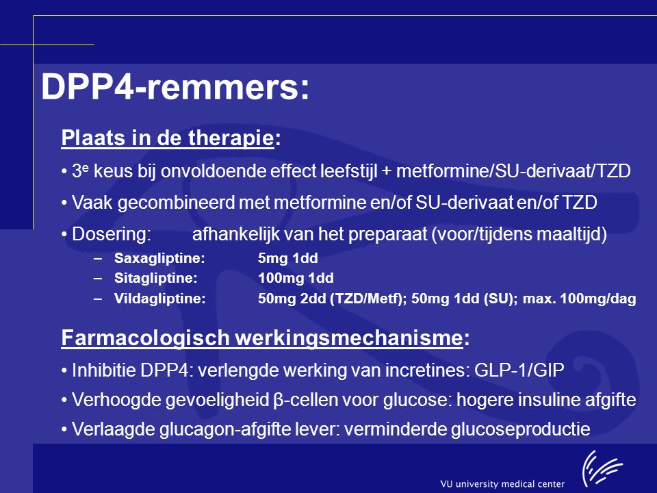 DPP4-remmers: Plaats in de therapie: