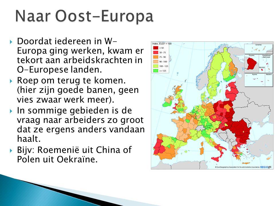 Naar Oost-Europa Doordat iedereen in W- Europa ging werken, kwam er tekort aan arbeidskrachten in O-Europese landen.