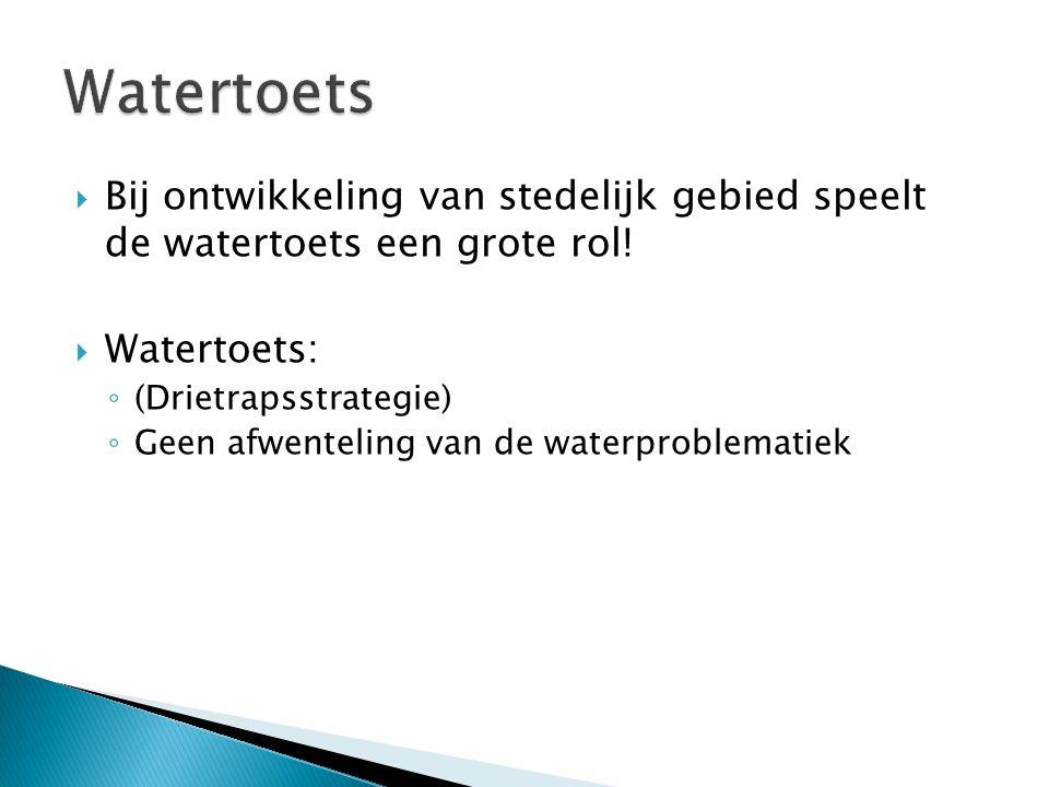 Watertoets Bij ontwikkeling van stedelijk gebied speelt de watertoets een grote rol! Watertoets: (Drietrapsstrategie)