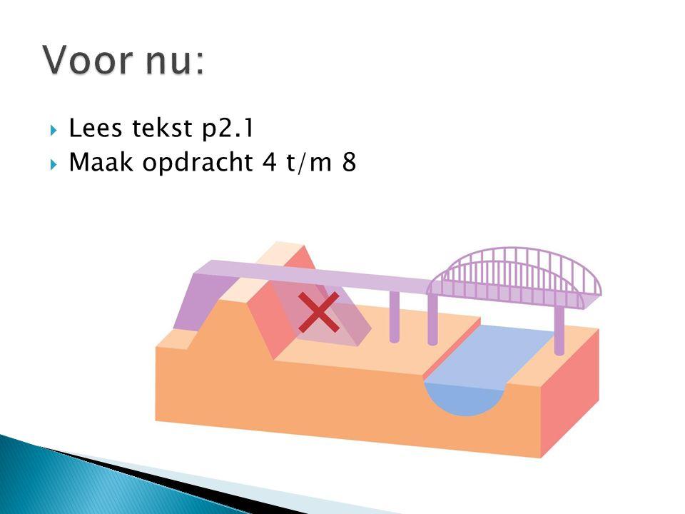 Voor nu: Lees tekst p2.1 Maak opdracht 4 t/m 8
