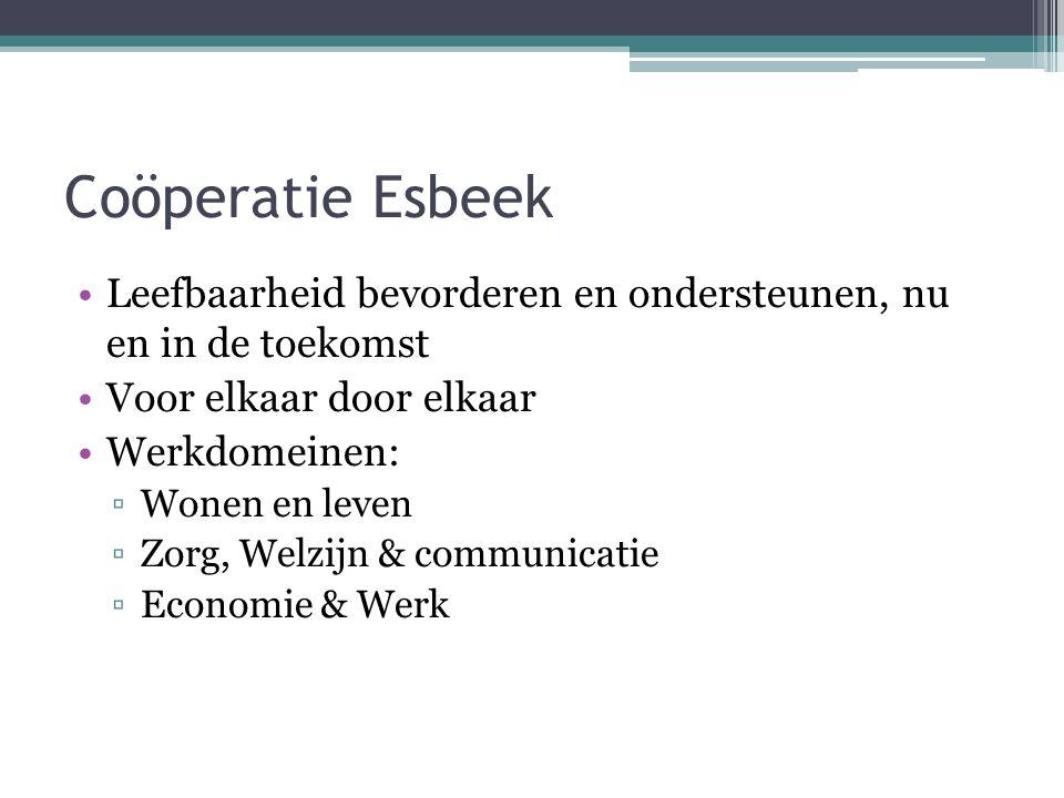 Coöperatie Esbeek Leefbaarheid bevorderen en ondersteunen, nu en in de toekomst. Voor elkaar door elkaar.