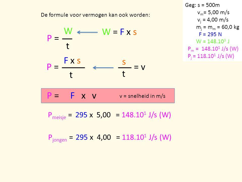P = W t W = F x s P = F x s t s = v t P = F x v Pmeisje = 295 x 5,00