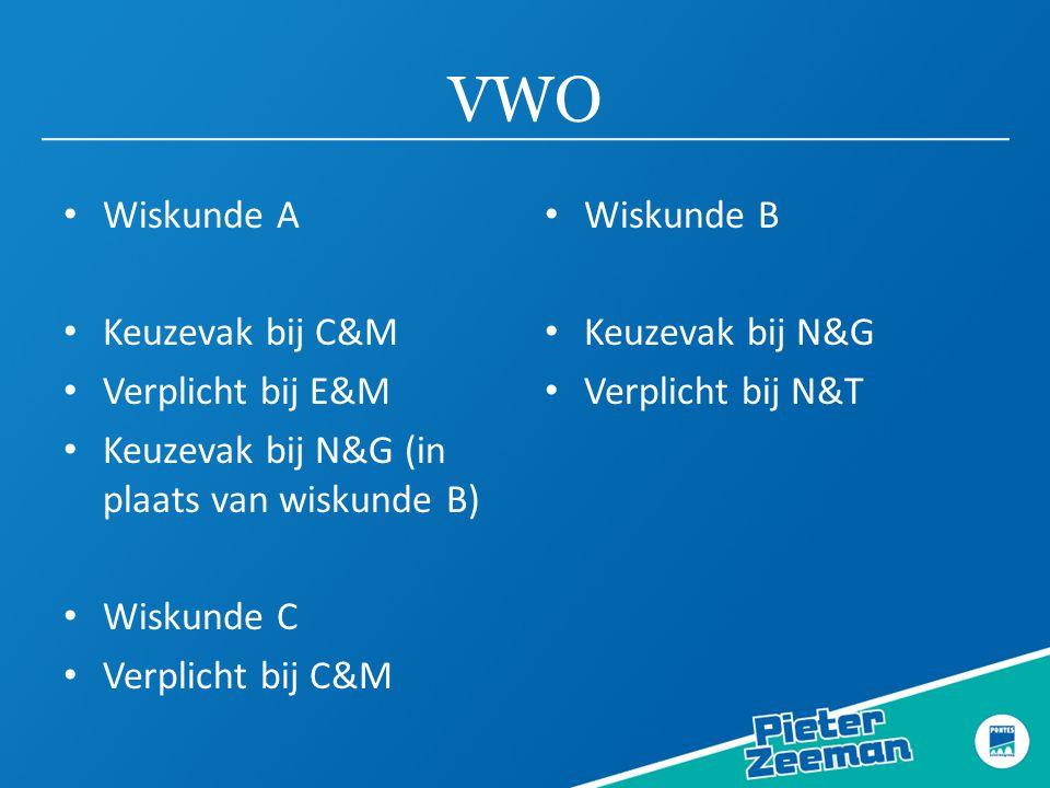 VWO Wiskunde A Keuzevak bij C&M Verplicht bij E&M