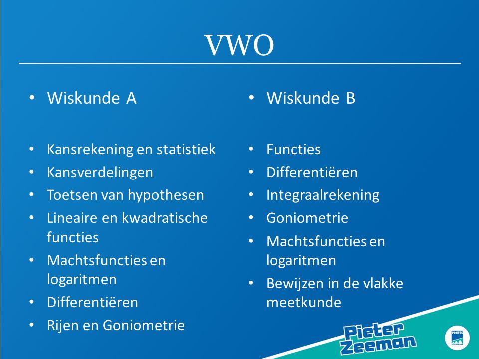 VWO Wiskunde A Wiskunde B Kansrekening en statistiek Kansverdelingen