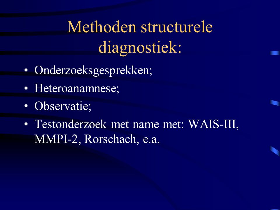 Methoden structurele diagnostiek: