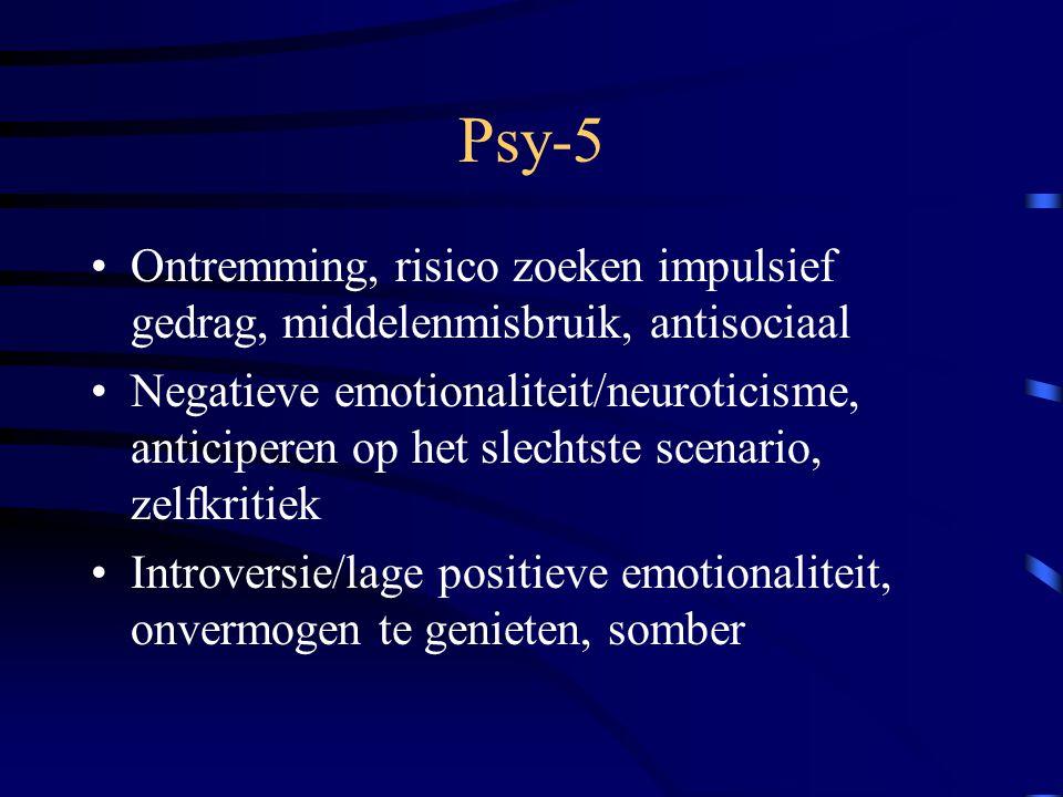 Psy-5 Ontremming, risico zoeken impulsief gedrag, middelenmisbruik, antisociaal.