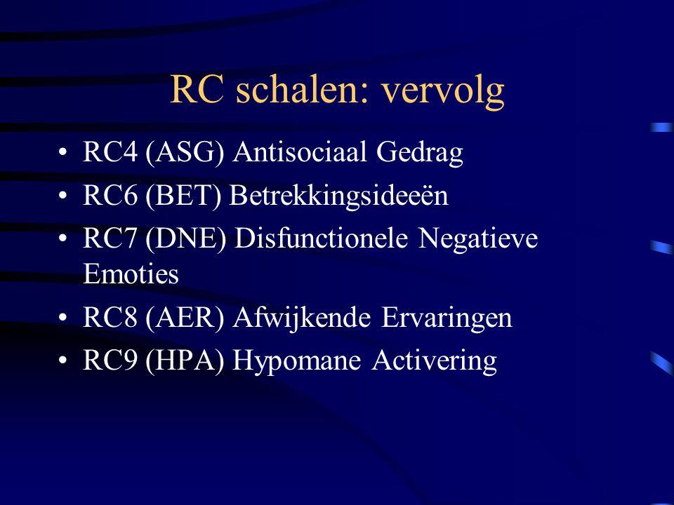 RC schalen: vervolg RC4 (ASG) Antisociaal Gedrag