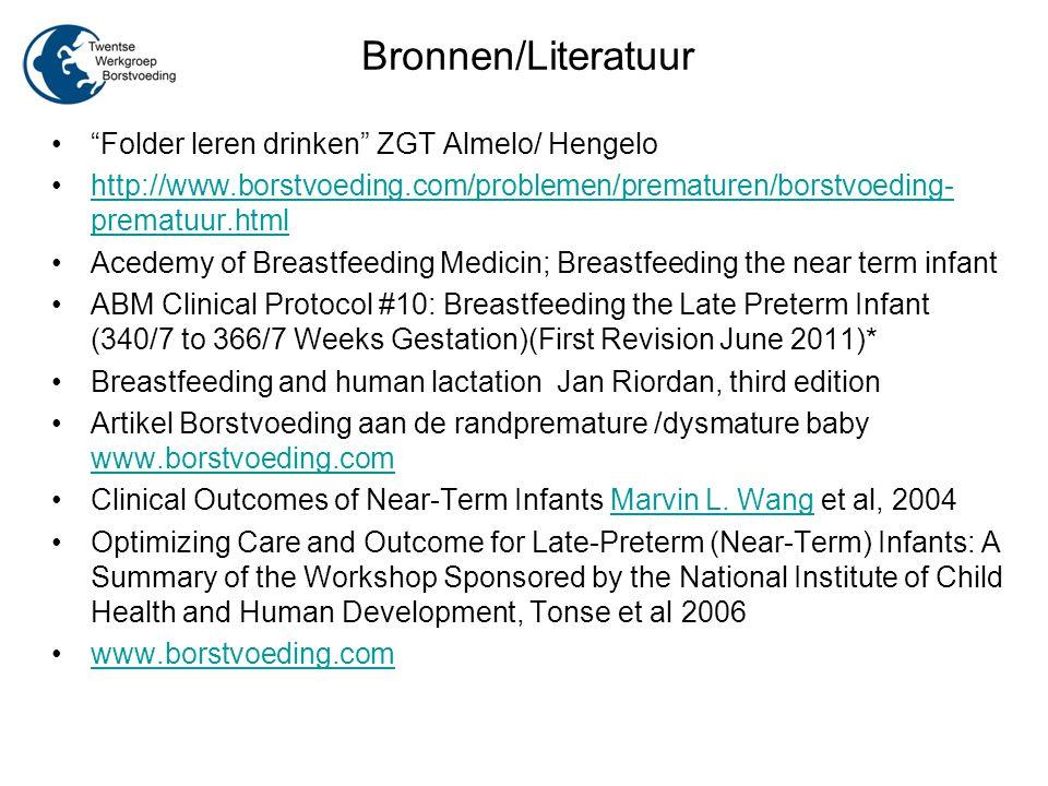 Bronnen/Literatuur Folder leren drinken ZGT Almelo/ Hengelo