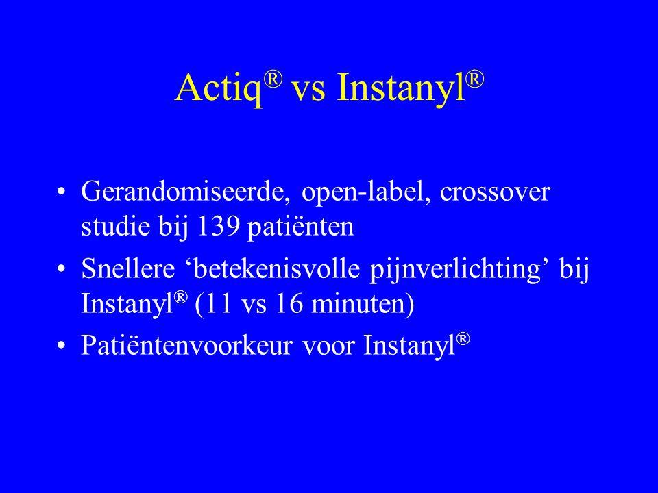 Actiq® vs Instanyl® Gerandomiseerde, open-label, crossover studie bij 139 patiënten.