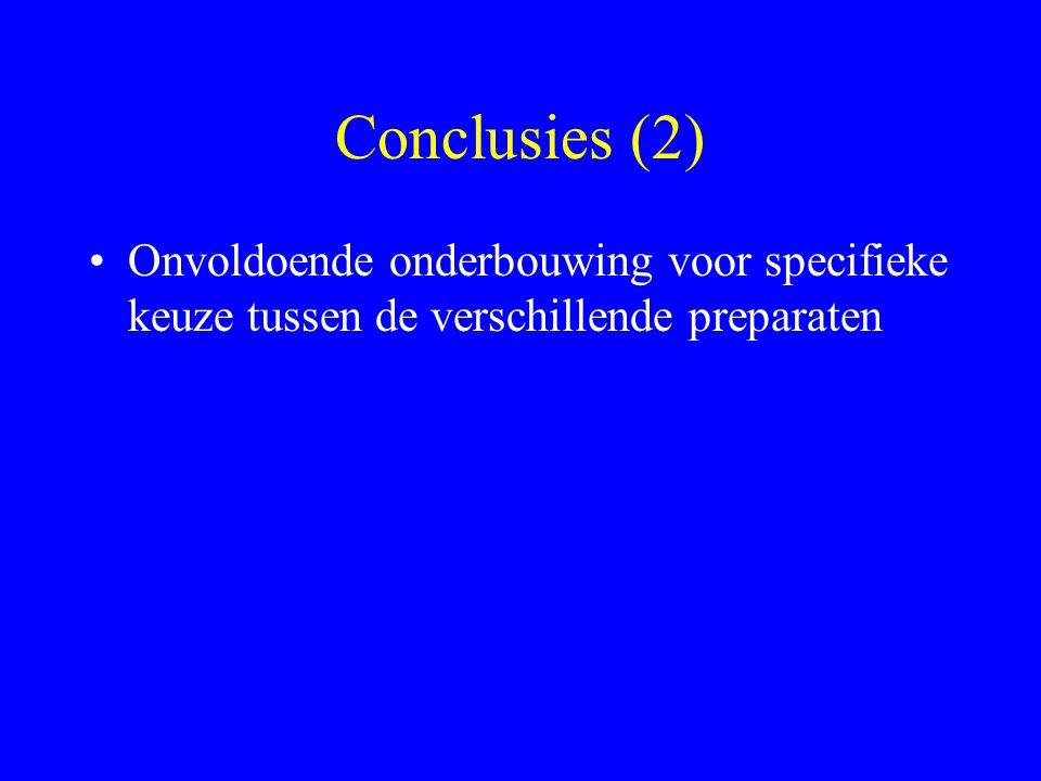 Conclusies (2) Onvoldoende onderbouwing voor specifieke keuze tussen de verschillende preparaten