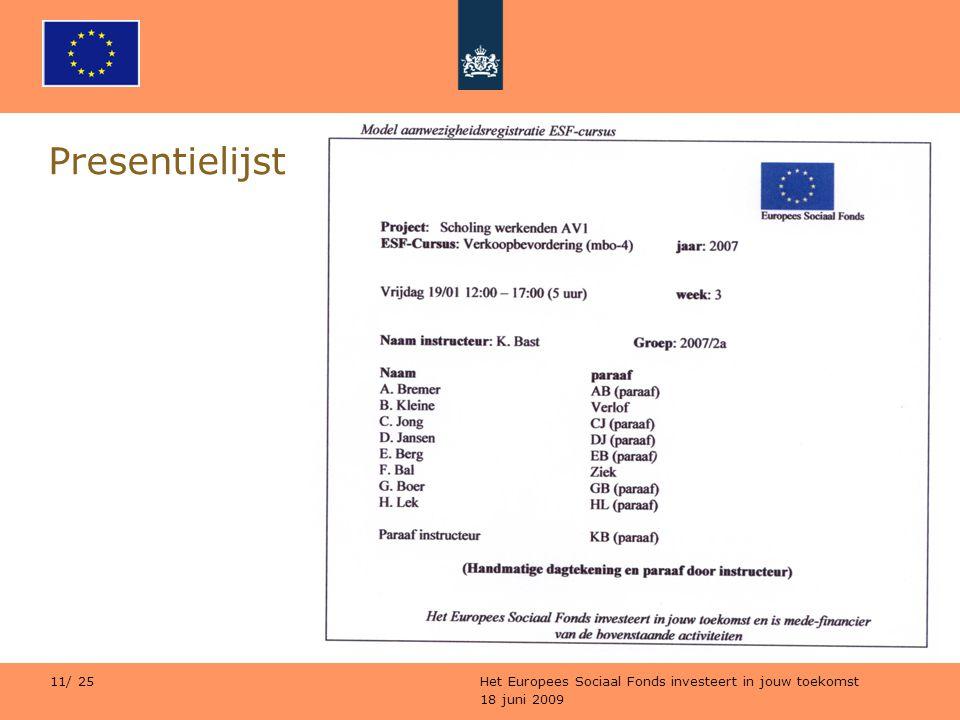 Presentielijst Het Europees Sociaal Fonds investeert in jouw toekomst