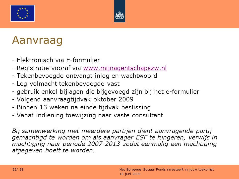 Aanvraag - Elektronisch via E-formulier