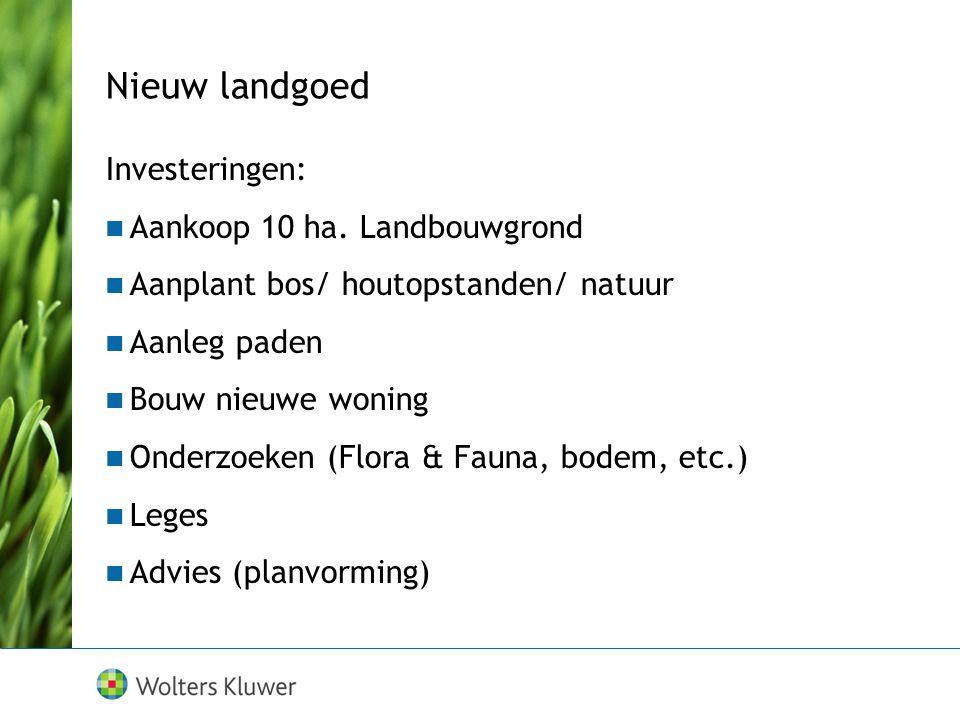 Nieuw landgoed Investeringen: Aankoop 10 ha. Landbouwgrond