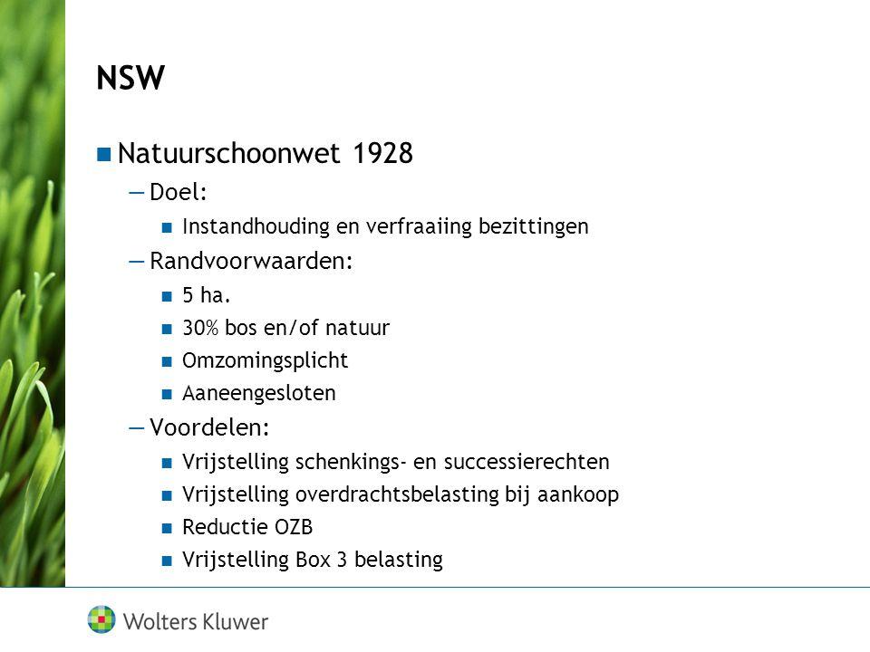 NSW Natuurschoonwet 1928 Doel: Randvoorwaarden: Voordelen: