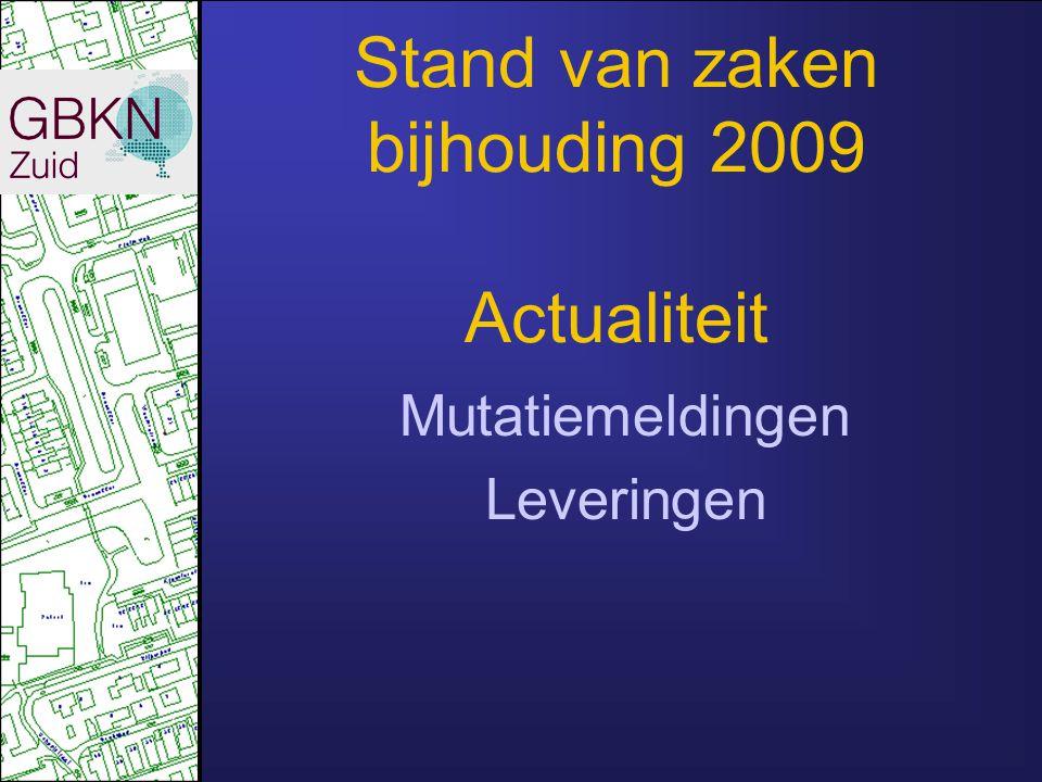Stand van zaken bijhouding 2009 Actualiteit
