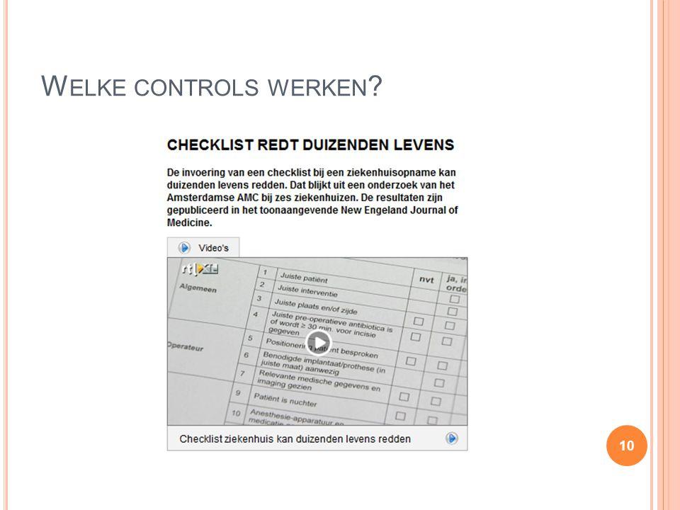 Welke controls werken