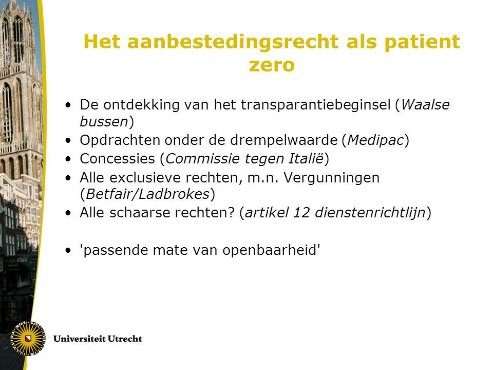 Het aanbestedingsrecht als patient zero