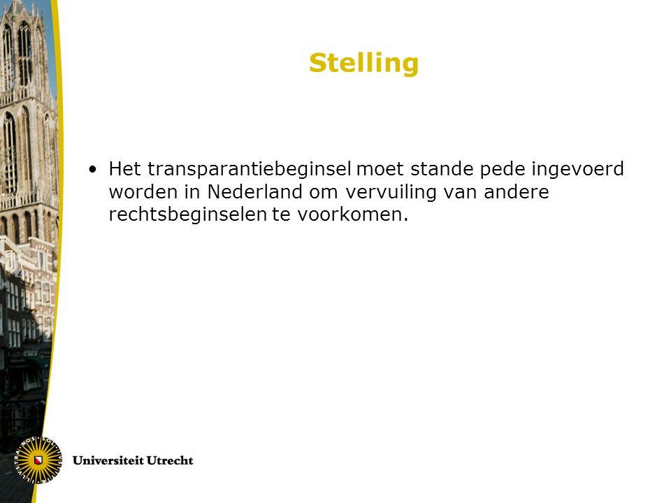 Stelling Het transparantiebeginsel moet stande pede ingevoerd worden in Nederland om vervuiling van andere rechtsbeginselen te voorkomen.